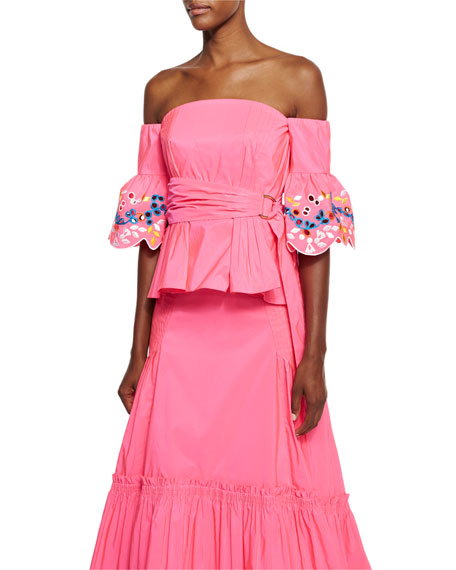 Embroidered Taffeta Off-Shoulder Top, Pink