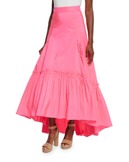 Long Bustled Taffeta Skirt, Bright Pink