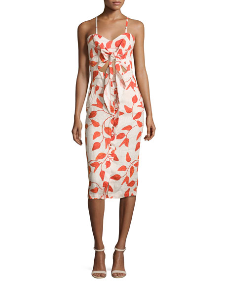 Leaf-Print Linen Tie-Front Cami Dress, Red/White