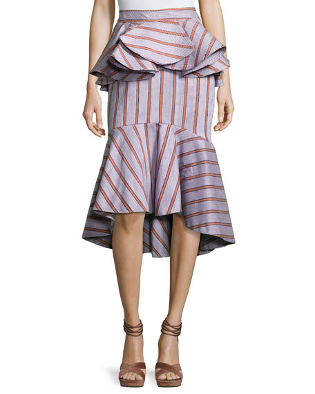 Striped Peplum Godet Skirt, Lilac/Rust