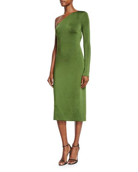 Cushnie Et Ochs One-Sleeve Open-Back Midi Dress