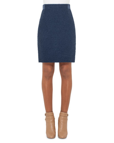 Boucle Pencil Skirt, Blue Jay