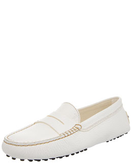 Tod's Gommini Pebbled Moccasin, White