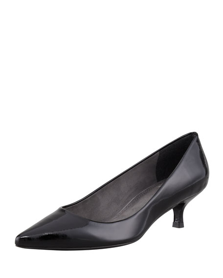 Poco Patent Leather Kitten-Heel Pump, Black