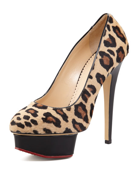 Polly Leopard-Print Calf Hair Platform Pump