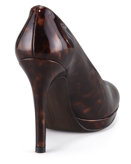 Platswoon Patent Leather Pump, Cognac/Tortuga