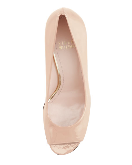 Stylish Peep-Toe Pump, Nude