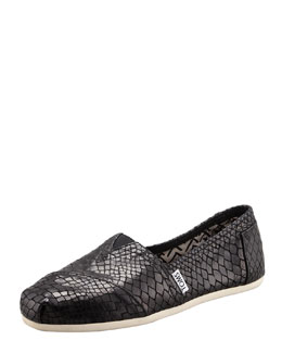 TOMS Serpentine Leather Slip-On, Black