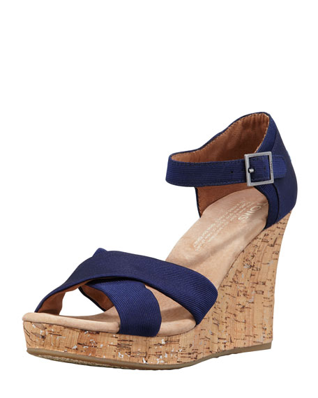 Grosgrain Cork Wedge Platform Sandal, Navy