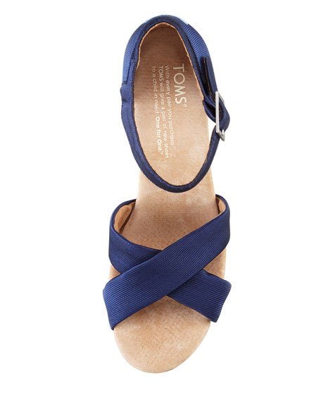 Toms Grosgrain Cork Wedge Platform Sandal Navy