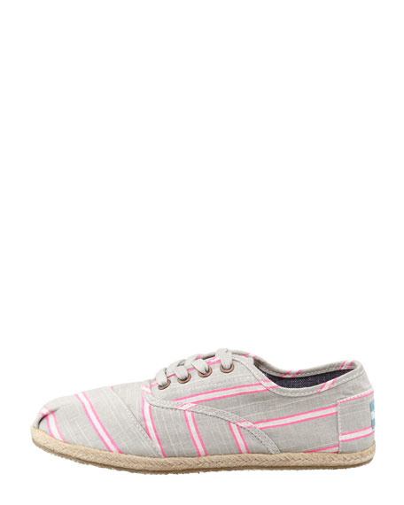 Cordones Striped Canvas Oxfords, Pink