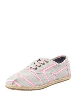TOMS Cordones Striped Canvas Oxfords, Pink