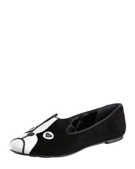 Suede Dog-Face Loafer, Black