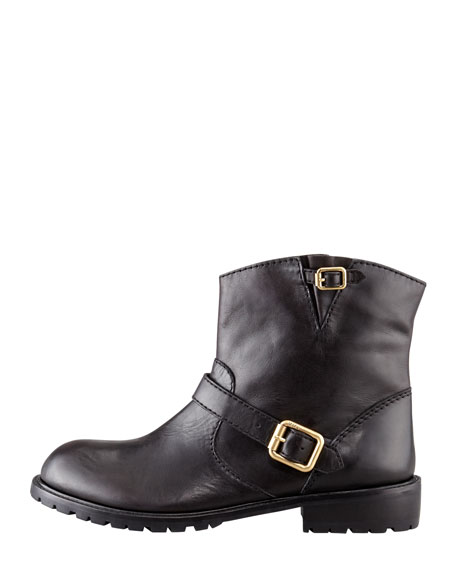 Polished Calfskin Motorcycle Ankle Boot, Black