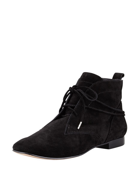 E-Camo Lace-Around Suede Bootie, Black