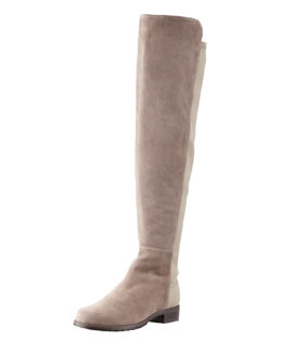 Stuart Weitzman 50/50 Suede Stretch-Back Knee Boot, Topo