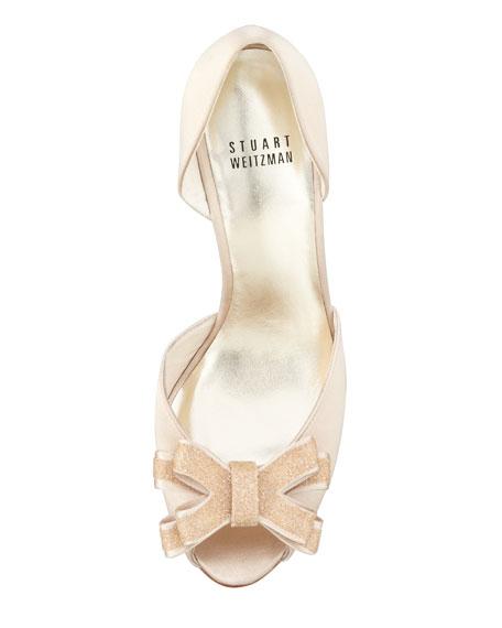 Alas Crystal-Bow Satin d'Orsay, Blonde