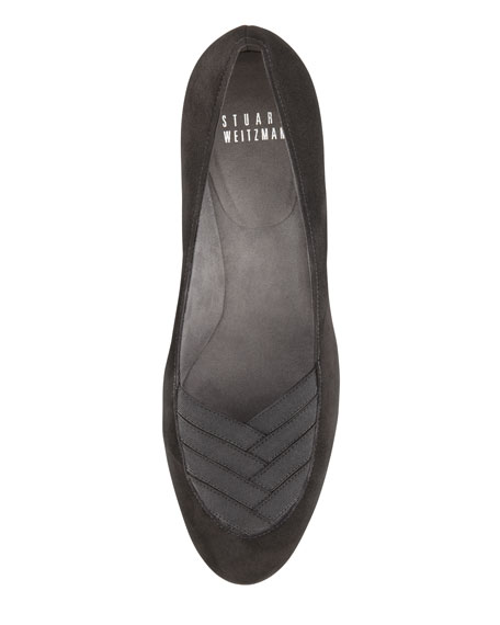 Timelines Suede & Grosgrain Wedge, Black