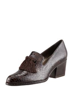Stuart Weitzman Razmataz Embossed Block-Heel Tassel Loafer, Fudge