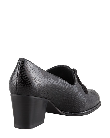 Razmataz Embossed Block-Heel Tassel Loafer, Black