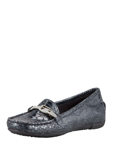 Running Crystal Faux-Snake Moccasin, Smoke