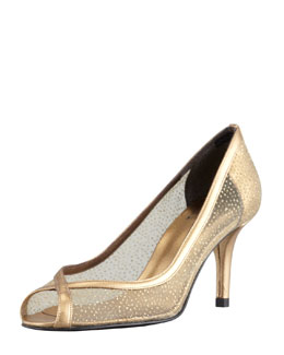 Stuart Weitzman Laceola Mesh and Sparkle Pump