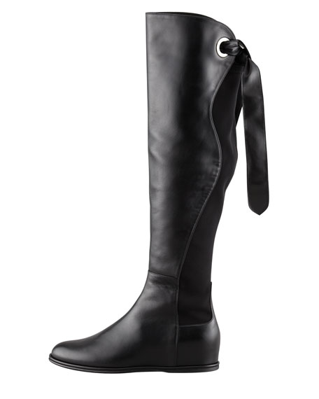Lowtied Tie-Back Stretch Leather Boot