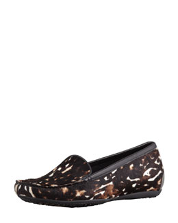 Stuart Weitzman Mach 3 Animal-Print Calf Hair Loafer