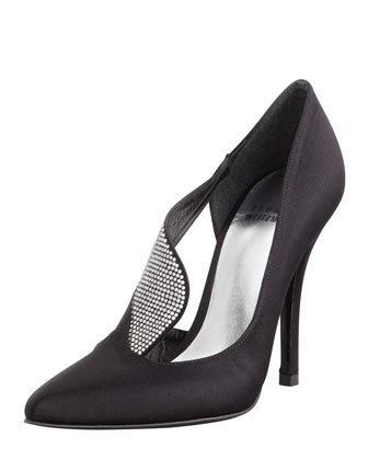 Sail Crystal-Satin Evening Shoe, Black