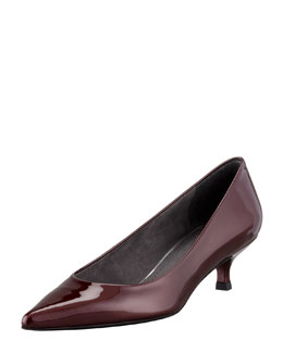 Stuart Weitzman Poco Patent Leather Kitten-Heel Pump, Tinto