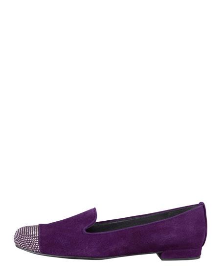 Lingo Crystal-Toe Smoking Slipper, Hyacinth