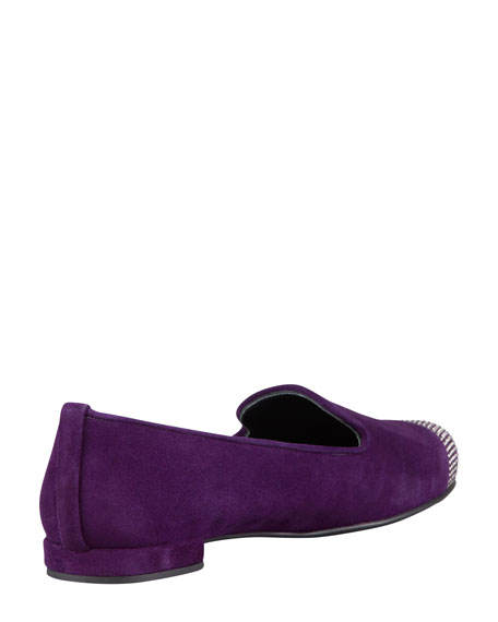 Lingo Crystal-Toe Smoking Slipper, Hyacinth