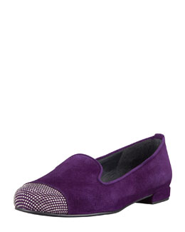 Stuart Weitzman Lingo Crystal-Toe Smoking Slipper, Hyacinth