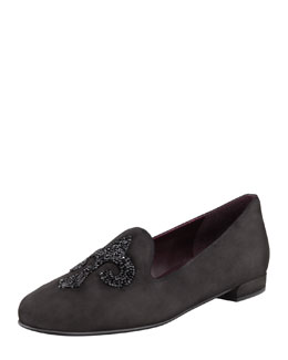 Stuart Weitzman Lys Crystal-Rocks Smoking Slipper, Black