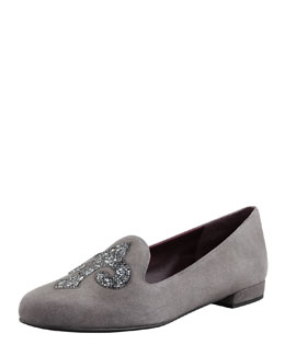 Stuart Weitzman Lys Crystal-Rocks Smoking Slipper, Charcoal