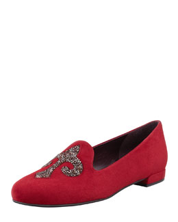 Stuart Weitzman Lys Crystal-Rocks Smoking Slipper, Scarlett