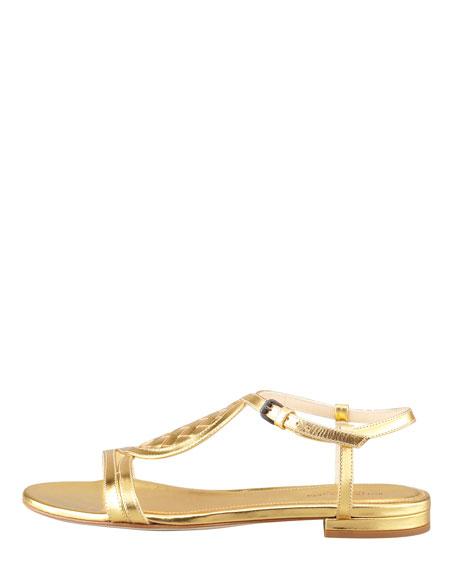 Metallic Woven Leather Flat Sandal, Gold