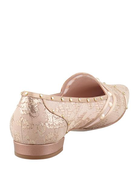 Crystal-Embellished Lace Loafer, Gold