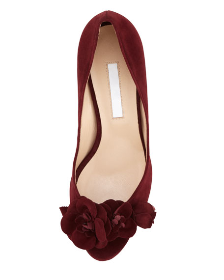 Feefio Rose Peep-Toe Pump, Burgundy