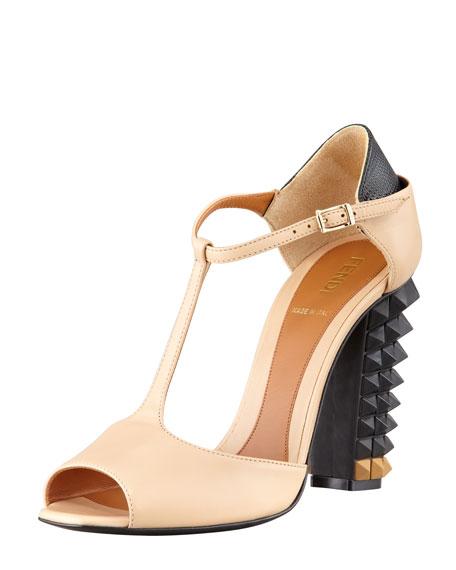 Polifonia Stud-Heel T-Strap Sandal, Nude/Black