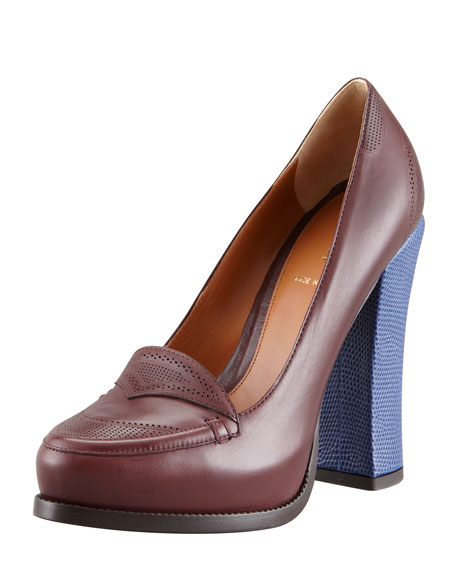 Austen Oxford Colorblock Pump, Eggplant/Blue