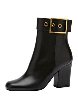 Gucci Side Buckle Leather Ankle Boot, Black