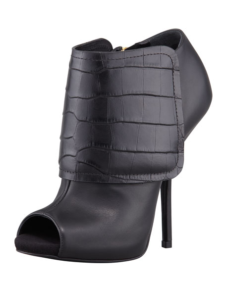 Embossed-Band Peep-Toe Bootie