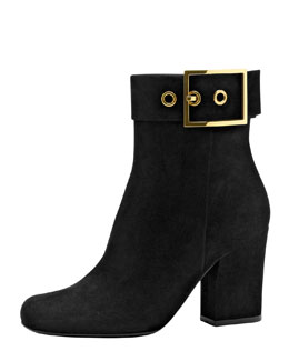 Gucci Side Buckle Suede Ankle Boot, Black