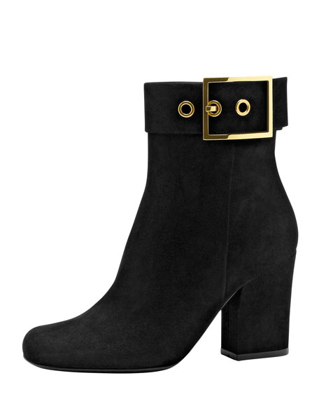 Side Buckle Suede Ankle Boot, Black
