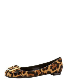 Gucci Leopard-Print Calf Hair Buckle Flat