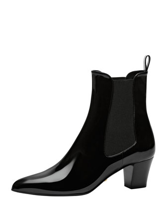 Patent Ankle Boot with Goring, Black