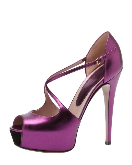 High-Heel Crisscross Pump, Magenta