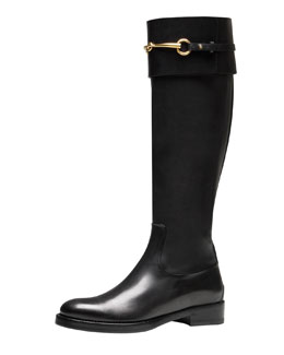 Gucci Jamie Flat Riding Boot, Black