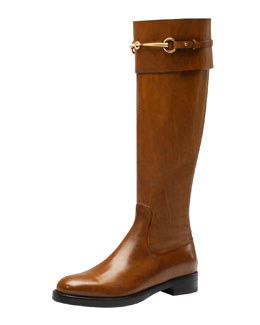 Gucci Jamie Flat Riding Boot, Camel
